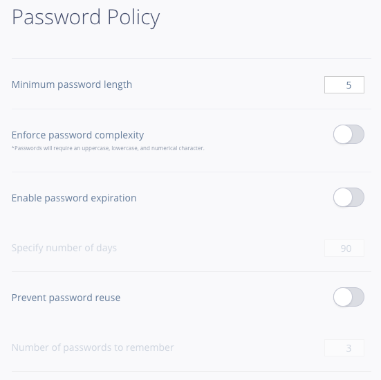Password policy options available in InVision V6 Enterprise