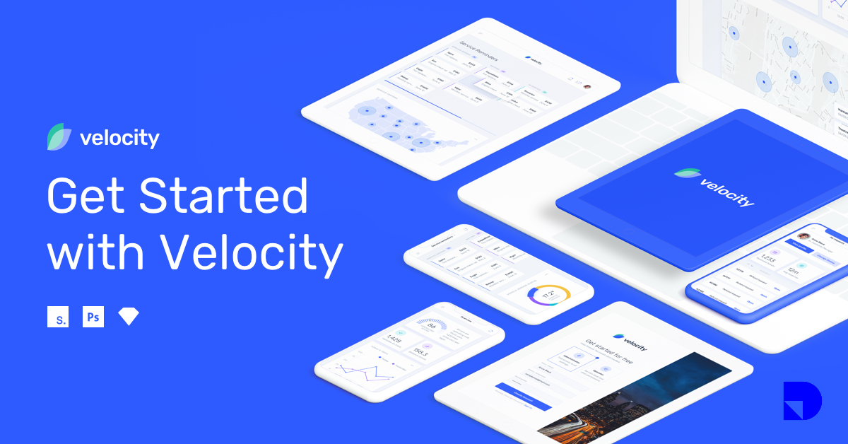 This image shows a preview of UI elements included in the Velocity UI kit.
