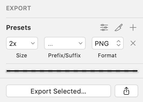 This image shows a layer marked for export in Sketch.