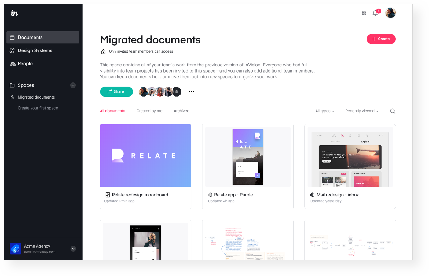 Sample Migrated Documents space in InVision V7